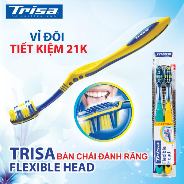 Vỉ Đôi Bàn Chải Đánh Răng Trisa Flexible Head Duo ( Medium )
