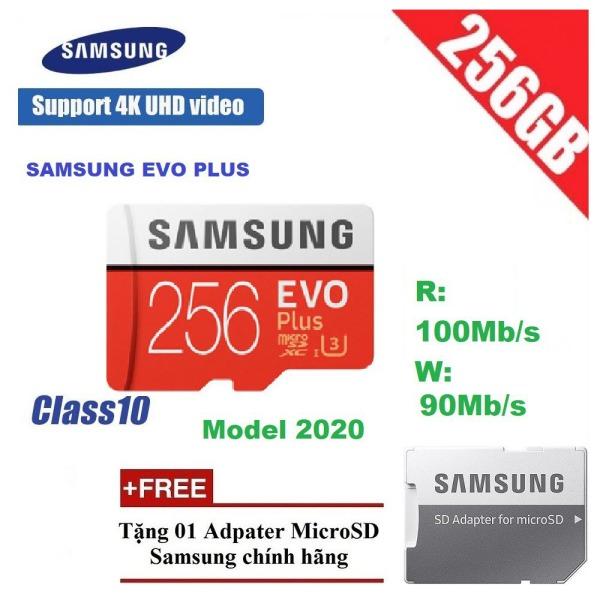 Thẻ nhớ Thẻ nhớ MicroSDXC Samsung Plus 256GB U3 4K R100MB/s W90 MB/s - Box Anh New 2020 (Đỏ) + Kèm Adapter - Hàng Chính Hãng