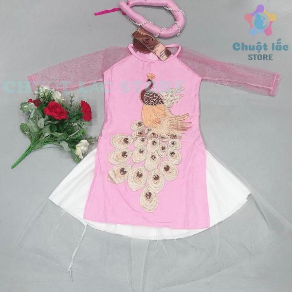 Giá bán Sét Áo dài cách tân bé gái, áo dài Tết chất gấm đũi thêu công nổi kết cườm cho bé từ 10kg đến 30kg (màu hồng)