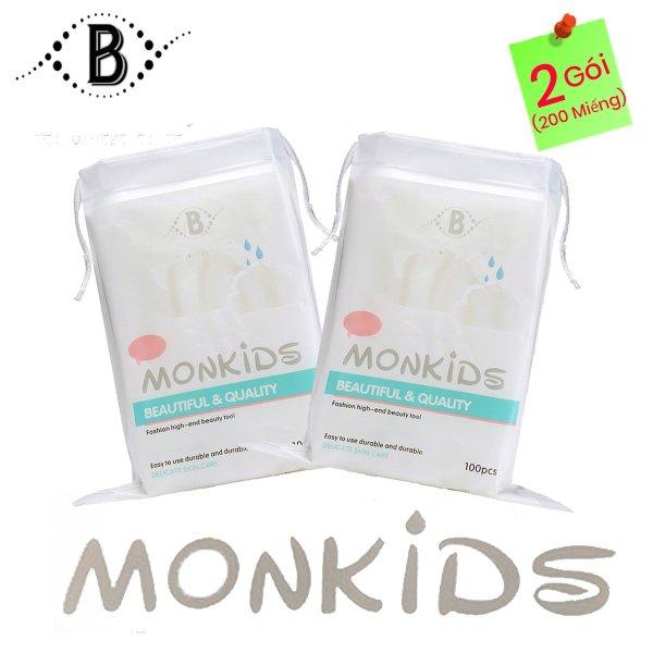 COMBO 2 gói bông tẩy trang 100% cotton 3 lớp mềm mịn thấm hút cực tốt 200 miếng BTT05LA - Thương Hiệu MONKIDS nhập khẩu