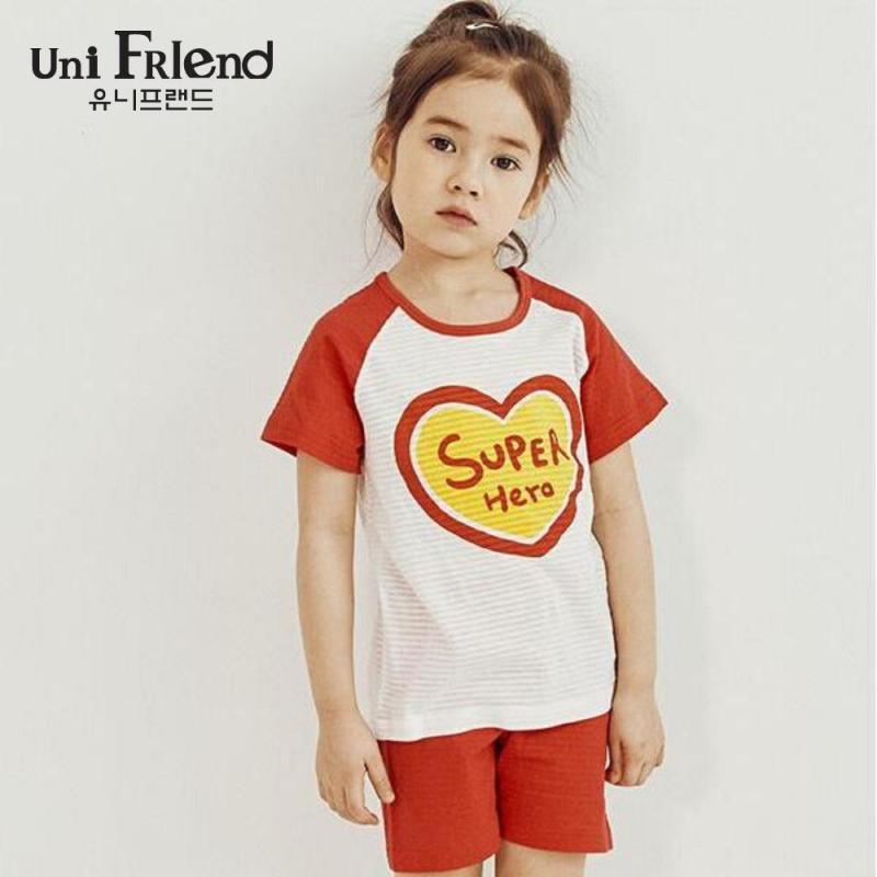 Nơi bán Đồ bộ mặc nhà bé gái Unifriend thun ngắn họa tiết super U9SSTS13