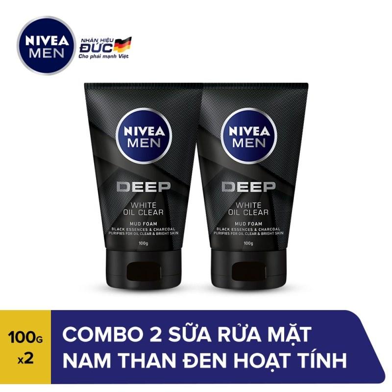 Combo 2 Sữa rửa mặt nam than đen hoạt tính sáng da Nivea Men Deep White Oil Clear 100g - 84415 giá rẻ