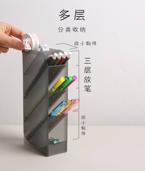 Kệ Đựng Bút Viết, Dụng Cụ Học Tập, Cọ Trang Điểm Đa Năng 4 Ngăn Chất Nhựa Trong Suốt Bền Đẹp KT 20x8.5x4.5cm