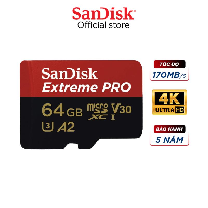 Thẻ nhớ microSDXC SanDisk Extreme Pro 64GB V30 A2 tốc độ upto 170MB/s + Adapter, hỗ trợ dùng cho máy điện thoại, máy tính bảng, camera hành trình, flycam...