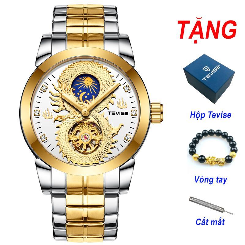 Đồng hồ chạy cơ Automatic nam dây thép thương hiệu Tevise Cao Cấp T843B (Dây Demi, Mặt Trắng) bán chạy