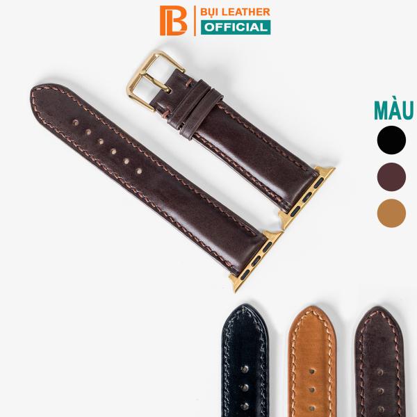 Dây apple watch da bò D106-da thật-khâu tay thủ công cao cấp, dây đeo apple watch series 3-series 4-series 5-series 6-se size 38mm-40mm-42mm-44mm, tặng tháo chốt, thương hiệu Bụi leather chuyên đồ da thật, bảo hành 12 tháng