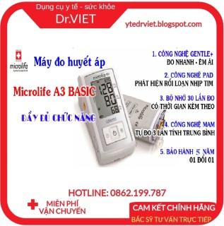 MÁY ĐO HUYẾT ÁP MICROLIFE A3 BASIC- Cảnh báo rối loạn nhịp tim với công nghệ PAD, Đo êm thoải mái với Công nghệ Gentle+, Đo 3 lần lấy trung bình cho kết quả đo chính xác vượt trội với công nghệ MAM, Cột phân loại huyết áp chuẩn thumbnail