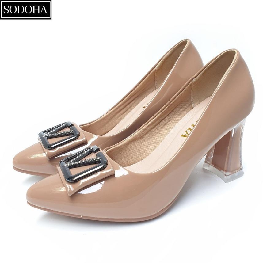 Giày cao gót đế cao 7cm đính khuy gót vuông SODOHA SDH-V359 giá rẻ