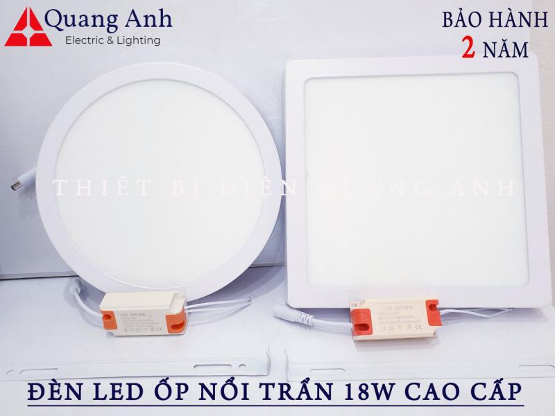 Đèn LED ốp nổi trần 18w vuông, tròn, ánh sáng trắng
