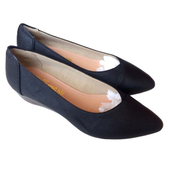 Giày nữ đế xuồng 5cm màu đen da bò cao cấp THD01276 giá rẻ