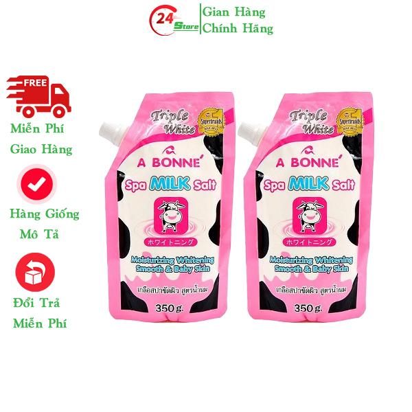 [HCM]Combo 2 Bịch Muối tắm sữa bò tẩy tế bào chết A Bonne Spa Milk Salt Thái Lan 350gr