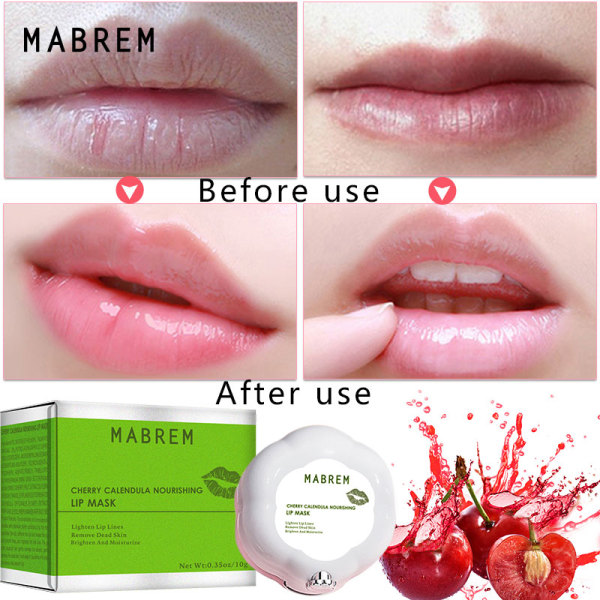 MABREM  Lip Mask Night Sleep Maintenance Moisturizing Lips Balm Cherry Flavor Nourish Relieve Dryness Protect Lips Care 10g giá rẻ