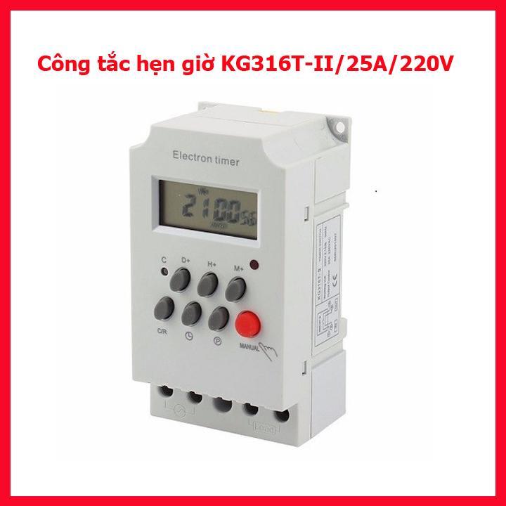 Timer hẹn giờ điện tử KG316T-II/25A/220V 16 chương trình, công tắc điện hẹn giờ