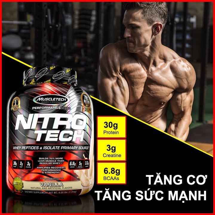 Thực phẩm bổ sung - Sữa tăng cơ NITRO TECH - hộp 4lbs - Vị Vanilla cao cấp