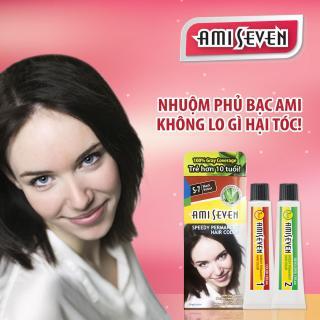 Nhuộm phủ bạc dược thảo Ami Seven Speedy Permanent Hair Color (60g 60g) nhanh 7 phút màu S7 (Đen tự nhiên) - Hàn Quốc thumbnail