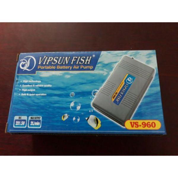 Máy Sủi Khí Oxy Chạy Pin 1 Vòi Vs-960 Và 2 Vòi + Dây Sủi + Quả Sủi Cho Hồ Cá  1 Vòi