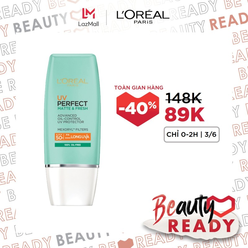 Kem chống nắng bảo vệ & dưỡng da se mịn lỗ chân lông & chống ô nhiễm LOreal Paris UV Perfect fresh & Matte SPF50/PA++++ giá rẻ