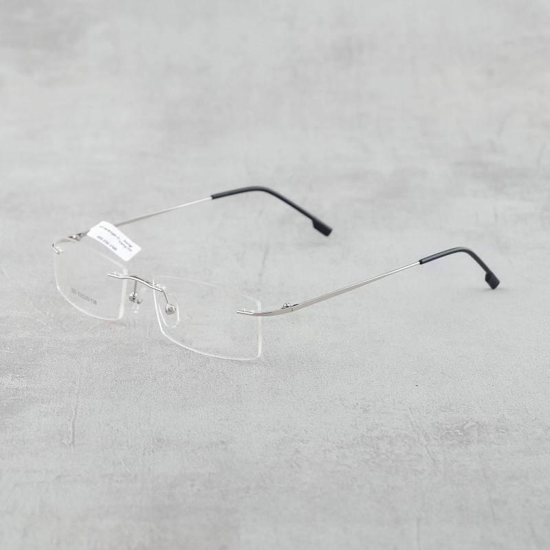 Giá bán Gọng kính kim loại không viền Nam - Nữ 2 màu trắng đen