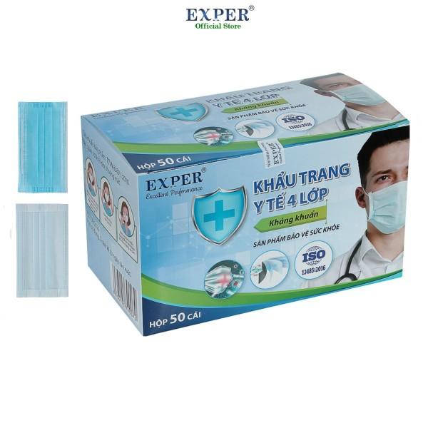 Khẩu trang y tế EXPER 4 lớp hộp 50 cái - màu xanh. Khẩu trang y tế 4 lớp quai vải công nghệ Nhật không đau tai