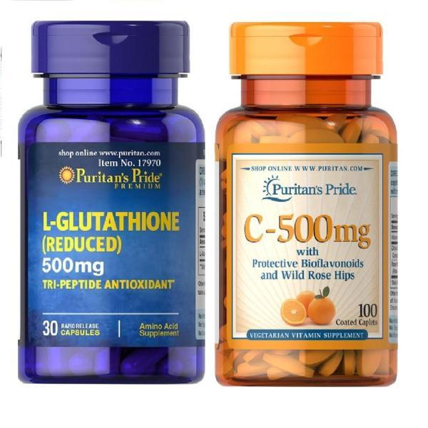 trắng da glutathion siêu trắng cấp tốc bộ 1 lọ Glutathion 500m + Vitamin C 500mg giá rẻ