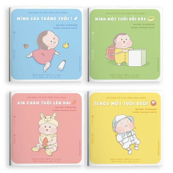 Mua Sách Ehon - Bộ 4 cuốn Làm quen với cuộc sống cùng Tengu - Ehon Nhật Bản cho bé 0-4 tuổi.