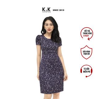 Đầm Công Sở Nữ Dáng Chữ A K&K Fashion KK105-33 Đầm Lụa Nền Tím Họa Tiết Hoa Nhiều Màu thumbnail