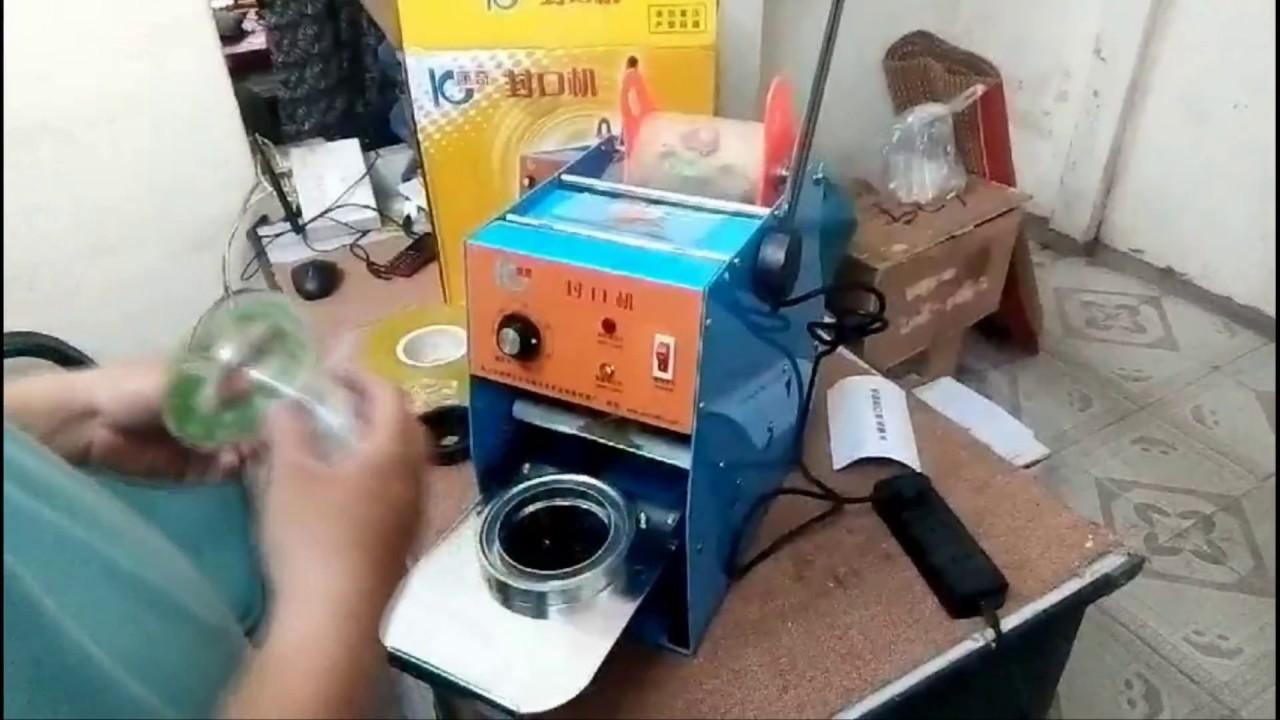 Máy dập miệng ly cốc từ 500ml + 2 cuộn màng 2kg  ABG shop