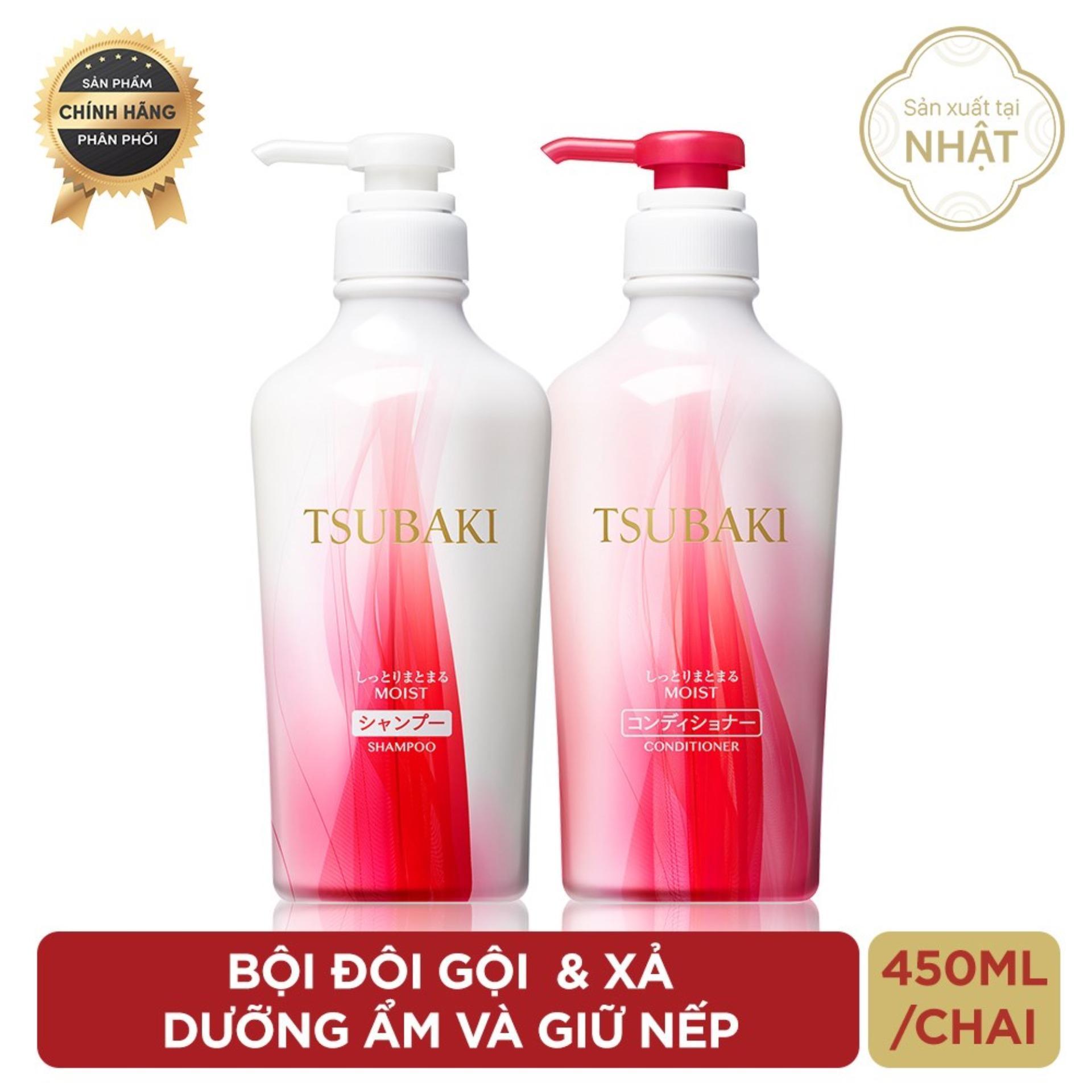 Bộ đôi dầu gội và dầu xả dưỡng ẩm và giữ nếp Tsubaki Moist 450ml/chai giá rẻ