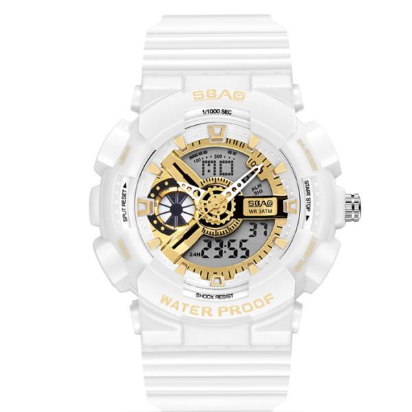 Đồng hồ nữ SBAO 8022 đồng hồ nữ thể thao chạy song song máy kim và điện tử dây silico cao cấp bán chạy