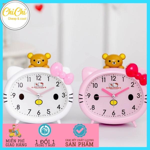 Nơi bán Đồng hồ báo thức hình Kitty dễ thương 13cm x 12cm DH02 Chichi, Đông hồ để bàn báo thức, Đồng hồ để bàn phòng ngủ dễ thương