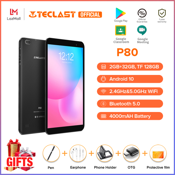 【2021 NEW】Teclast Official P80 8 Inch Android Tablet Android 10.0 OS IPS GPS Navigation Bluetooth 4.2 Dual Camera 2GB RAM 32GB ROM 1280x800 HD Screen Allwinner A133 Processor Tablet Murah 1 Year Warranty