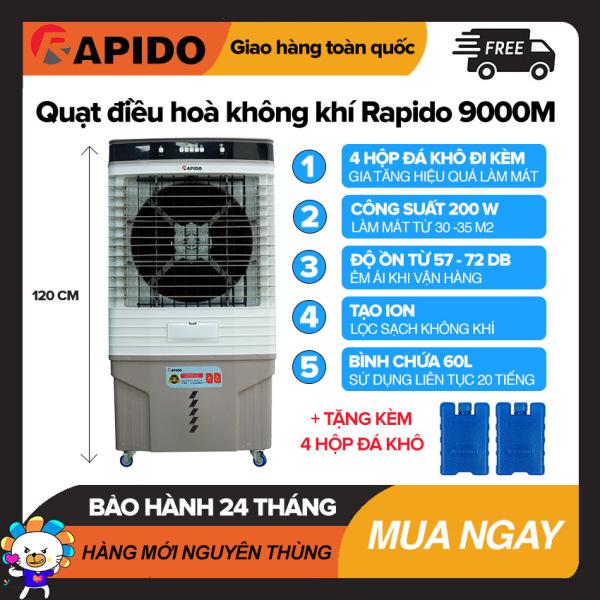 Quạt điều hòa không khí Rapido 9000M Làm Mát Dưới 35m2, Bình Chứa 60L, Điều Khiển Cơ, Công Suất 200W, Tự Tắt Bơm Khi Hết Nước, Quạt Làm Mát Giá Rẻ - Bảo Hành 2 Năm