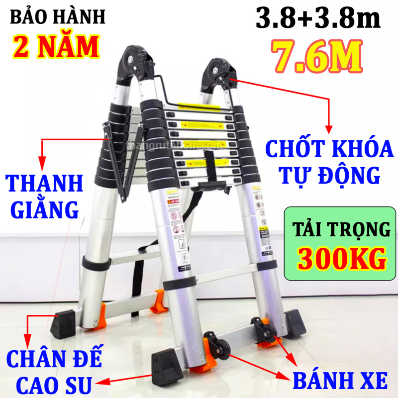 Thang nhôm rút đôi SUMIKA SK760D (A:3.8M;I:7.6M) NEW 2020 tải trọng 300kg, bảo hành 2 năm