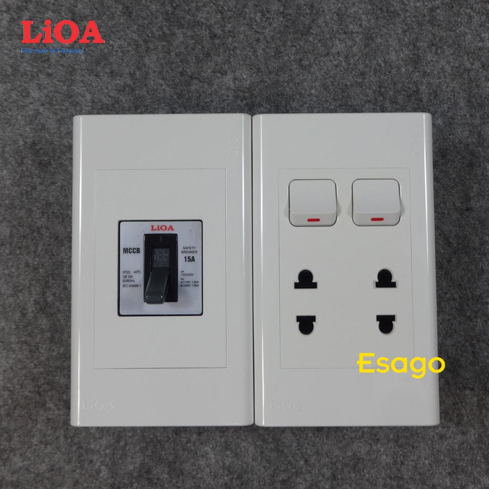 Combo ổ cắm điện đôi 2 chấu 16A (3520W) + 2 công tắc điện LiOA có cầu dao chống quá tải 15A Âm tường