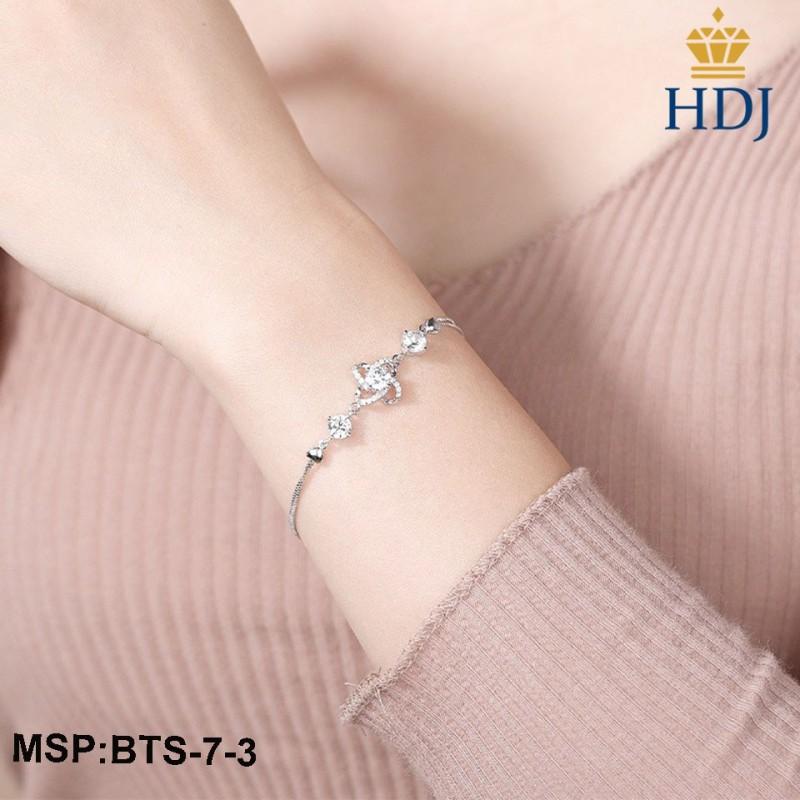 Combo dây chuyền, bông tai và lắc bạc Ý 925 Hình Cỏ bốn lá may mắn sang trọng trang sức cao cấp HDJ mã BTS-7-3