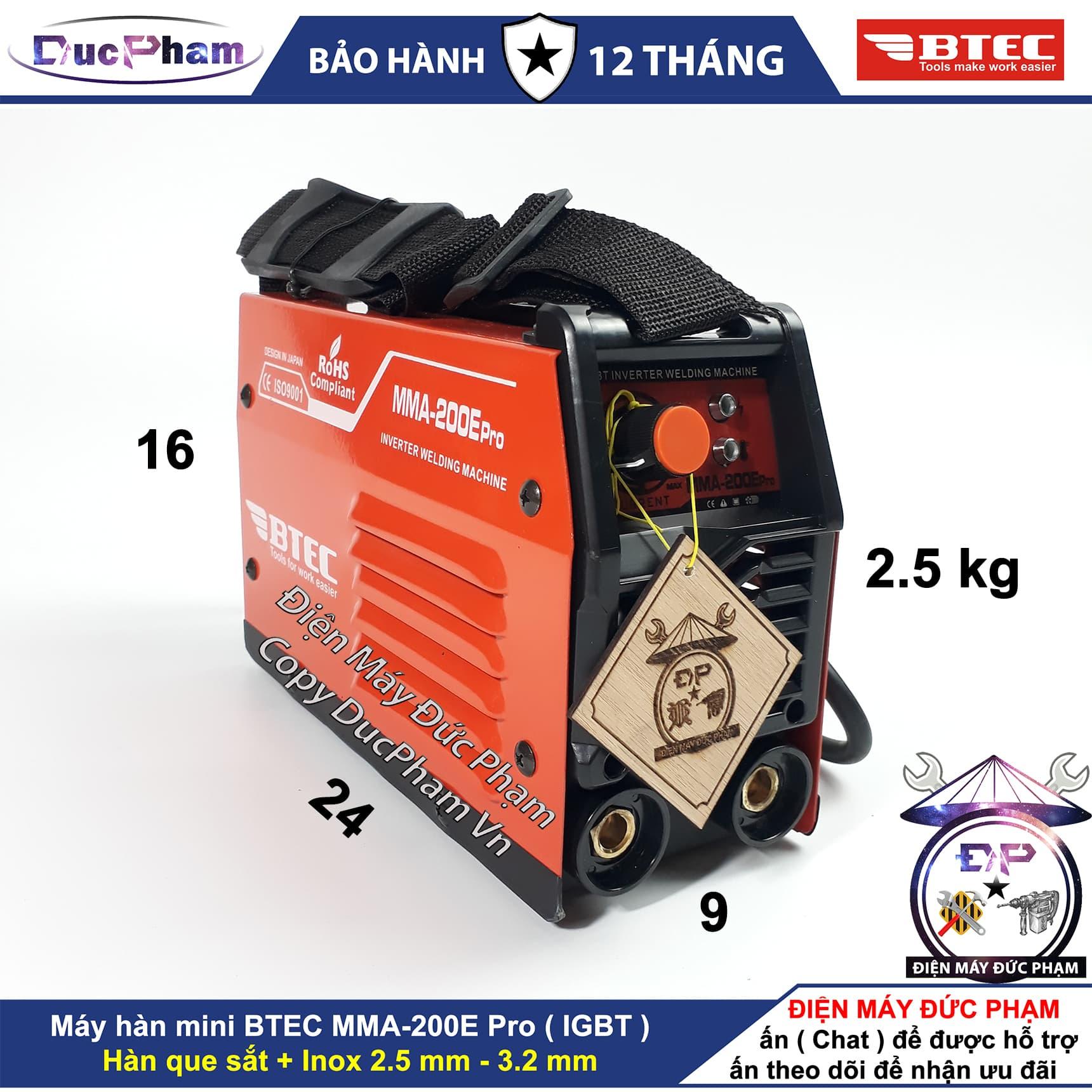 Máy Hàn điện tử BTEC MMA-200E Pro ( xác nhỏ ) - DucPham Vn - Điện Máy Đức Phạm - máy hàn que 200A , máy hàn điện tử , máy hàn mini gia đình , máy hàn sắt , máy hàn inox ,