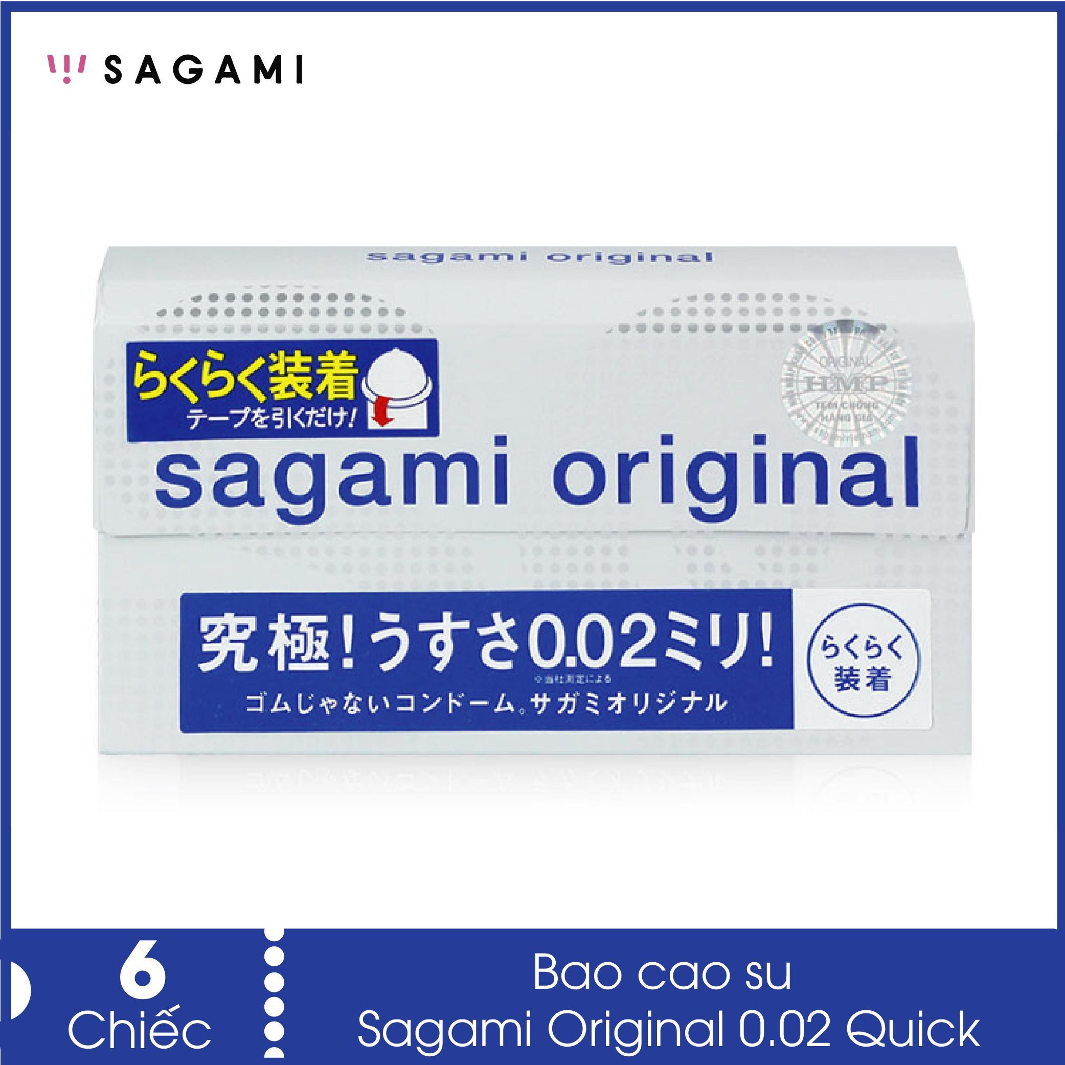 Bao cao su siêu mỏng 0.02 Sagami Quick (hộp 6 chiếc) - Hàng Nhật Bản