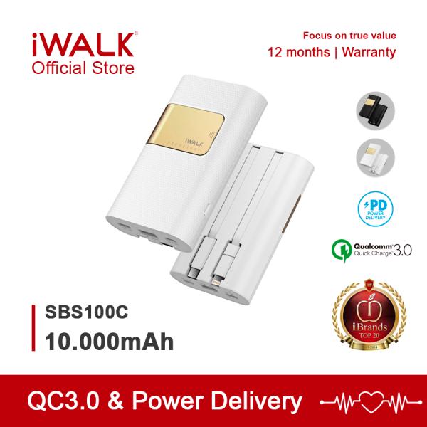 Pin sạc dự phòng 10000mAh - iWALK SBS100C sạc nhanh cho iPhone, Samsung,... 1 Cổng Type C Power Delivery 18W, 1 cổng sạc nhanh Quick Charge  QC3.0 - Bảo hành Chính Hãng 12 tháng