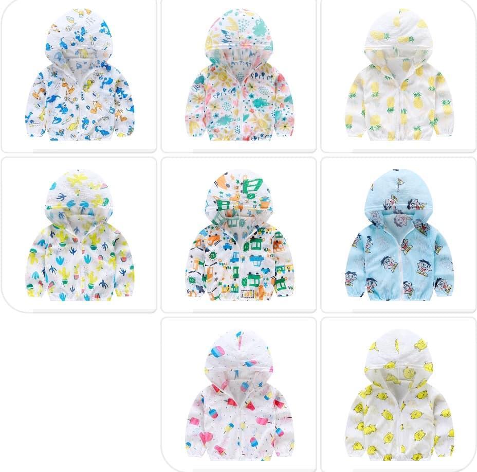 (CHỌN MẪU) Áo chống nắng có mũ vải xốp bé trai bé gái, áo khoác chống nắng có nón, áo hoodie chống nắng