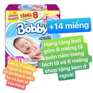 [Tặng 14 Miếng Tã Quần S trong bịch] Tã Dán Bobby Sơ Sinh NewBorn Siêu Thấm size XS 72 (72 Miếng) Tã dán Bobby size XS - 72 miếng thumbnail