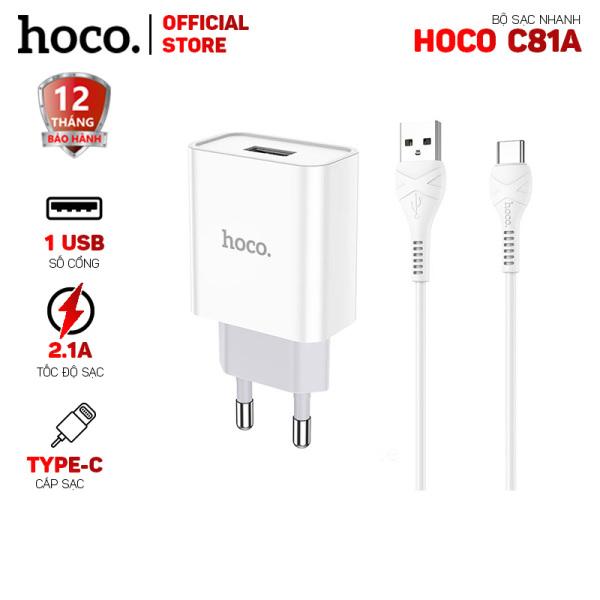 Bộ sạc nhanh Hoco C81A 1 cổng USB 2.1A kèm cáp Type-C dài 1.0m