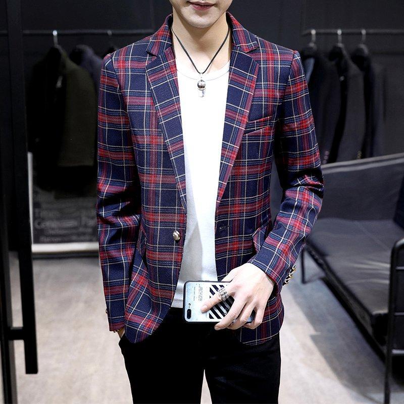 Kotak-Kotak Setelan formal pria Atasan Musim Semi Gaya Korea membentuk tubuh Setelan jas kecil
