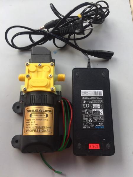 Máy bơm tăng áp MINI 12V Sinleader Kèm nguồn Adapter 12V5A sử dụng phun sương tưới lan rửa xe Bơm tự ngắt khi khóa nước đầu ra