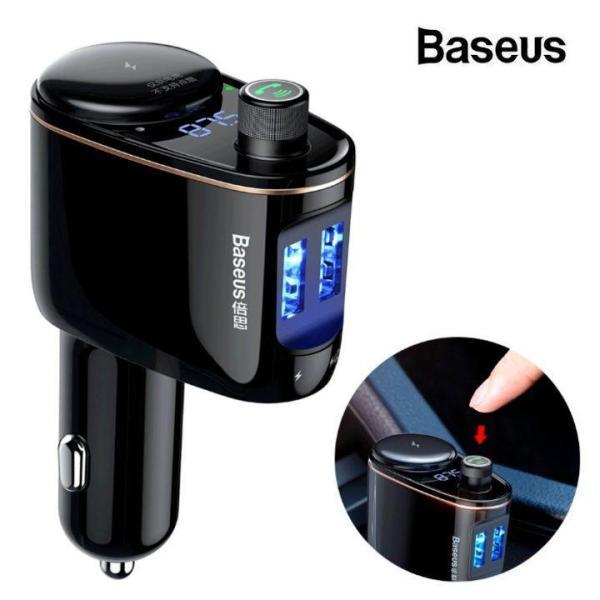 Tẩu nghe nhạc trên ô tô, xe hơi nhãn hiệu Baseus CCALL-RH01 tích hợp 2 cổng sạc điện thoại 3.4A, USB và đàm thoại rảnh tay Bluetooth 4.2