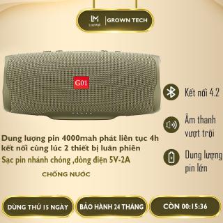 Loa bluetooth 4.2 GROWNTECH C4 Plus size lớn, chống thấm nước IPX7,âm bass mạnh, sạc được cho điện thoại, kết nối 2 thiết bị cùng lúc thumbnail
