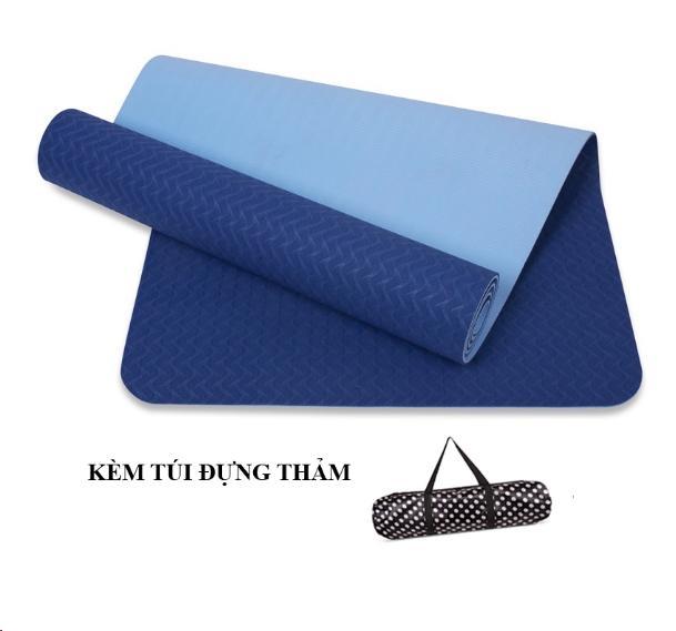 Thảm Tập Yoga Zeno TPE 2 Lớp Cao Cấp Kèm Túi Chống Nước (Xanh Dương) Giảm Giá Khủng