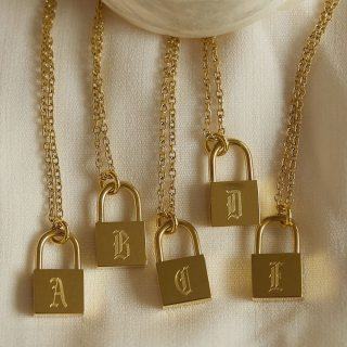 Fashion Male Jewelry Ancient English Letters Engraved Lock Pendant Stainless Steel 18K Gold Palted Chain Necklaces for Women Men thumbnail