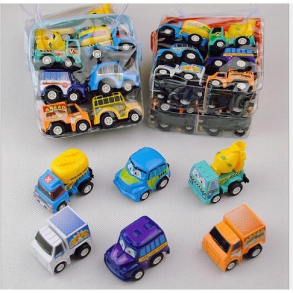 Set 6 ô tô Mini Bánh Đà Nhỏ Xinh Cho Bé, Xe ô tô đồ chơi quán tính chạy đà cho bé, chi tiết sắc sảo, chạy rất khỏe, bền và đẹp - Guty Mart