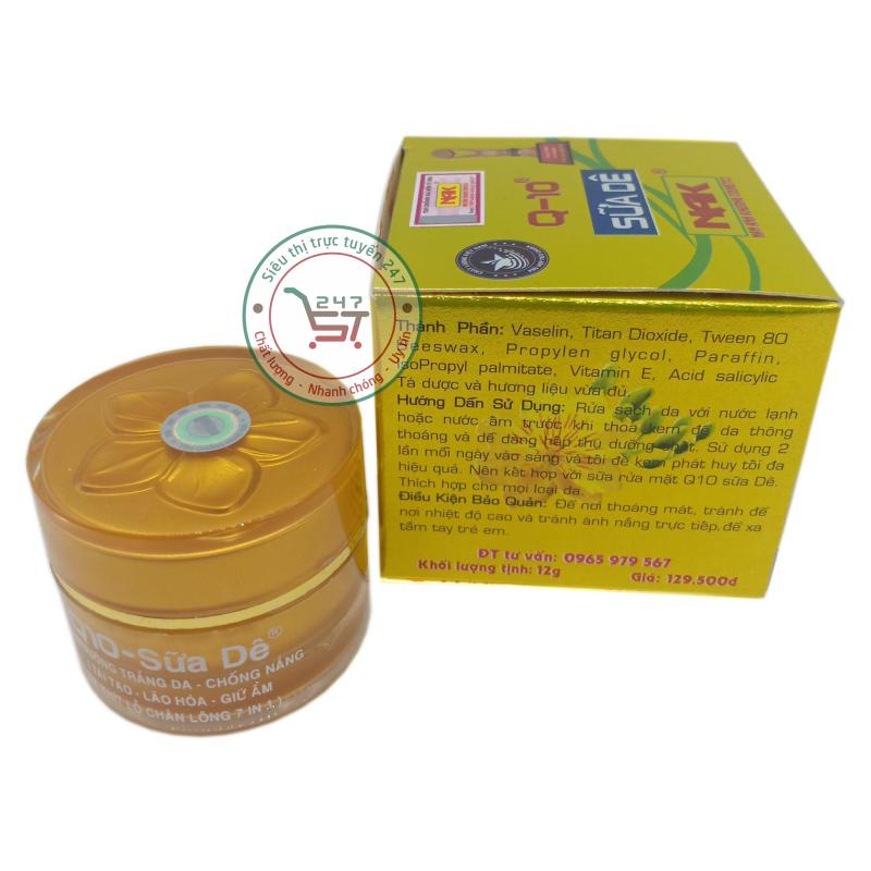 Kem dưỡng trắng Q10 Chống nắng Tái tạo Lão hóa Giữ ẩm Se khít lỗ chân lông 12g (Vàng chanh)|Siêu thị trực tuyến 247 giá rẻ