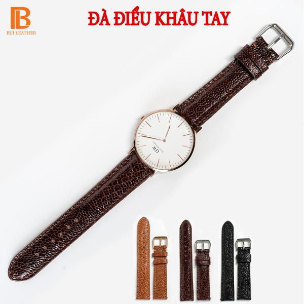Nơi bán Dây đồng hồ nam da đà điểu D104-da thật-khâu tay thủ công cao cấp, dây da đồng hồ size 18mm 20mm 22mm 24mm phù hợp với cả dw rolex hublot orient seiko casio,tặng tool tháo và chốt khóa,thương hiệu Bụi leather,bảo hành 12 tháng